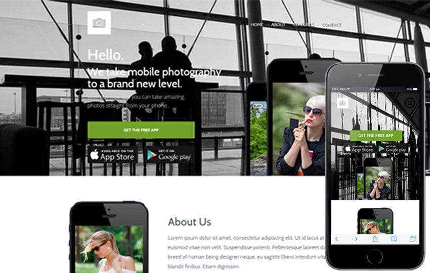 Macro a Mobile App based Flat Bootstrap Responsive web template Mobile website template Free