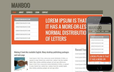 Free Manboo blogging web template and Mobile templates