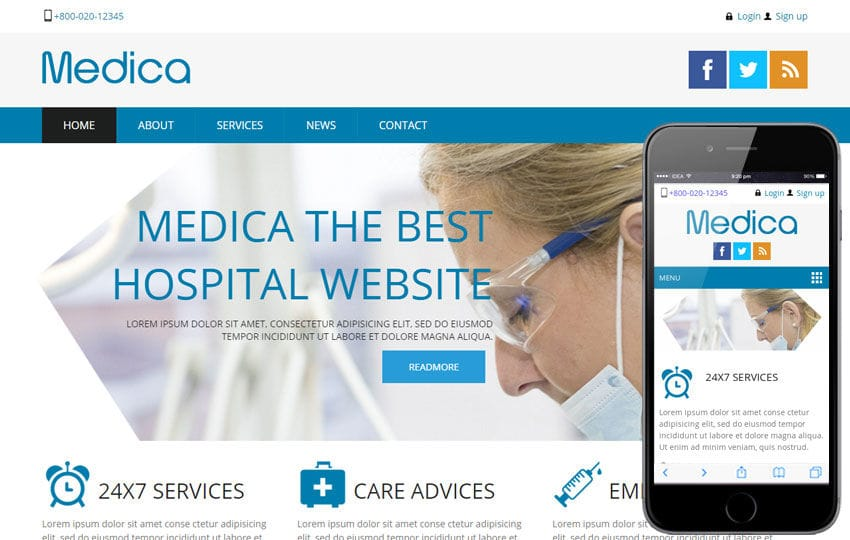 Medica Hospital Mobile Website Template Mobile website template Free