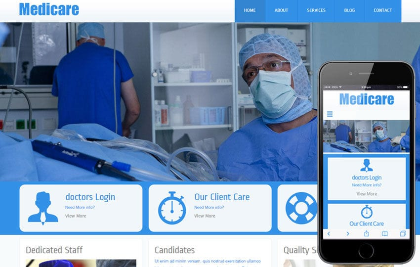 Medicare Hospital Mobile Website Template