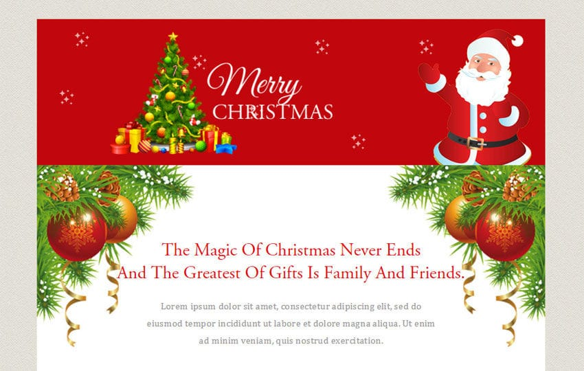 Merry Christmas a Newsletter Responsive Web Template Mobile website template Free