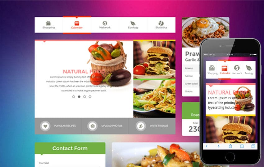 Metro Food UI KIT Flat Responsive web template Mobile website template Free