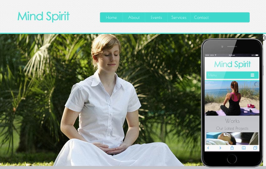 Mind Spirit a Health and Fitness Mobile Website Template Mobile website template Free