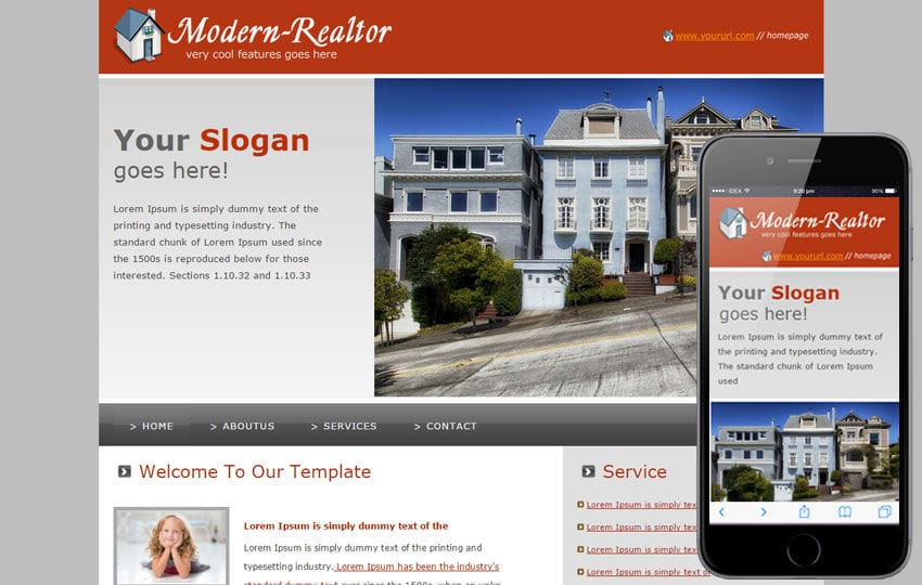 Free Modern Realtor website and mobile website for real estates agents Mobile website template Free