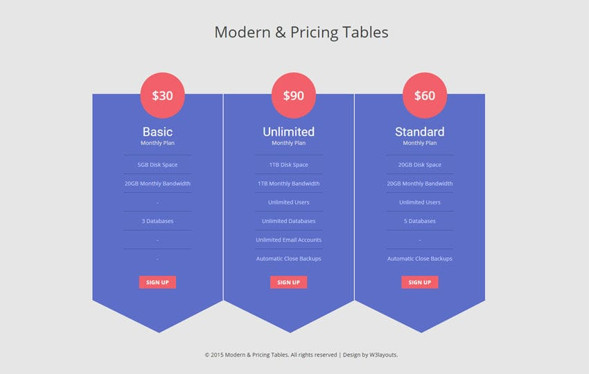 Moderning Pricing Tables Responsive Widget Template
