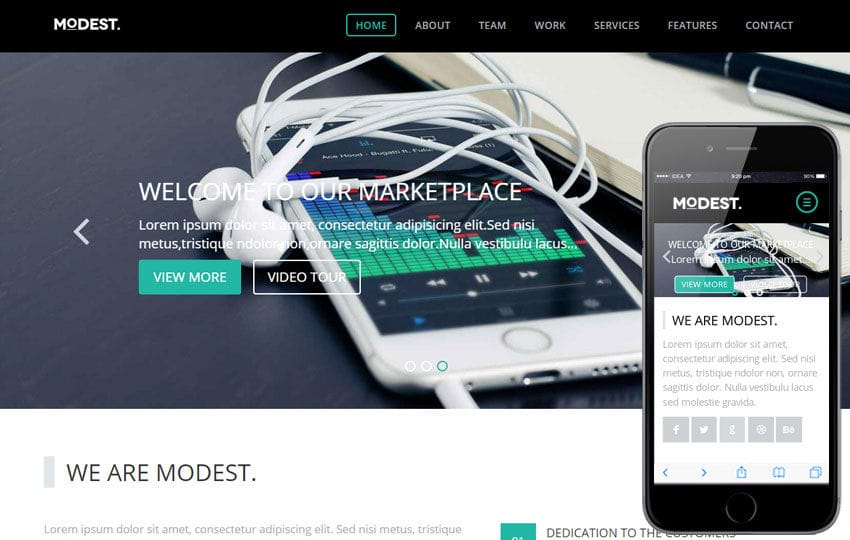 Modest a Singlepage Portfolio Flat Bootstrap Responsive Web Template Mobile website template Free