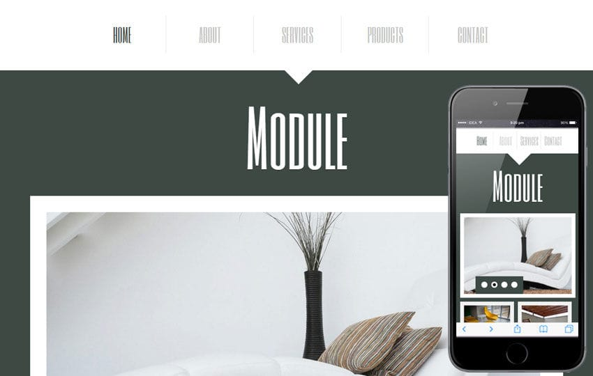 Module a interior architects Mobile Website Template Mobile website template Free