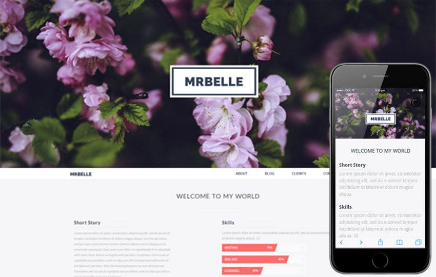 Mr Belle a Singlepage Multipurpose Flat Bootstrap Responsive web template Mobile website template Free
