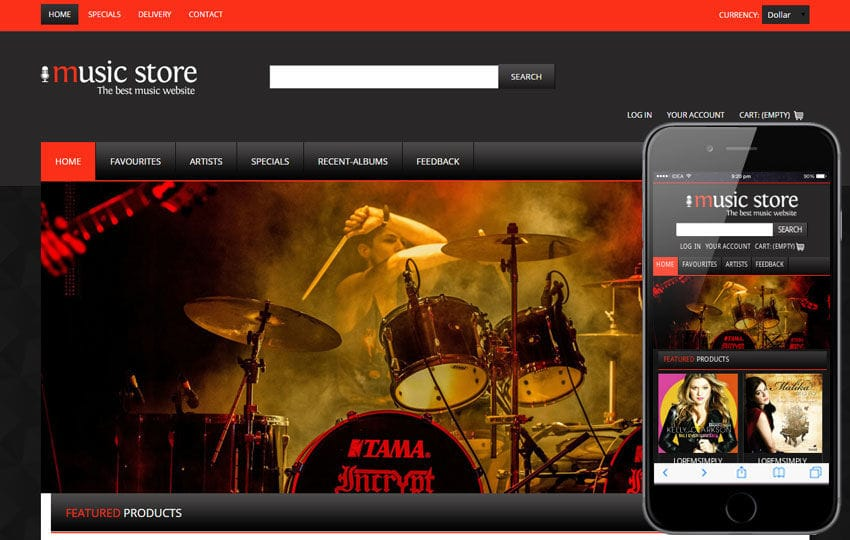Music Mobile Website Template Mobile website template Free