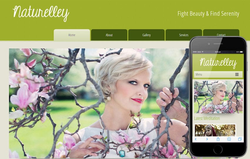 Naturelley Beauty Parlour Mobile Website Template Mobile website template Free