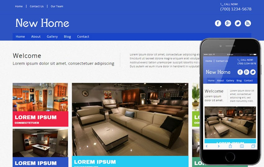 New Home a interior architects Mobile Website Template Mobile website template Free