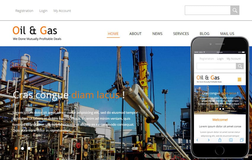 Oil and Gas a Industrial Category Flat Bootstrap Responsive Web Template