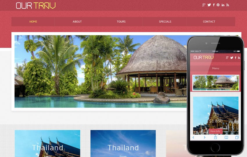Our Trav a travel guide Mobile Website Template Mobile website template Free