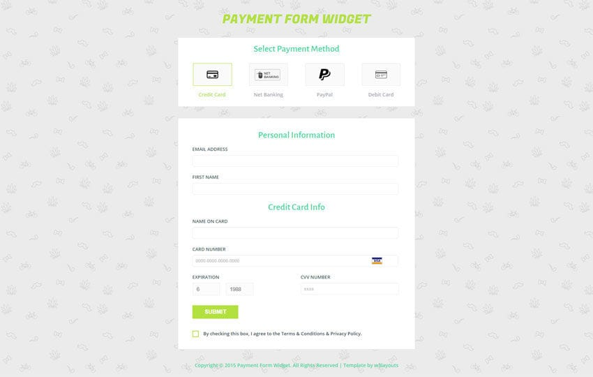 Payment Form Template – Responsive HTML Template Mobile website template Free