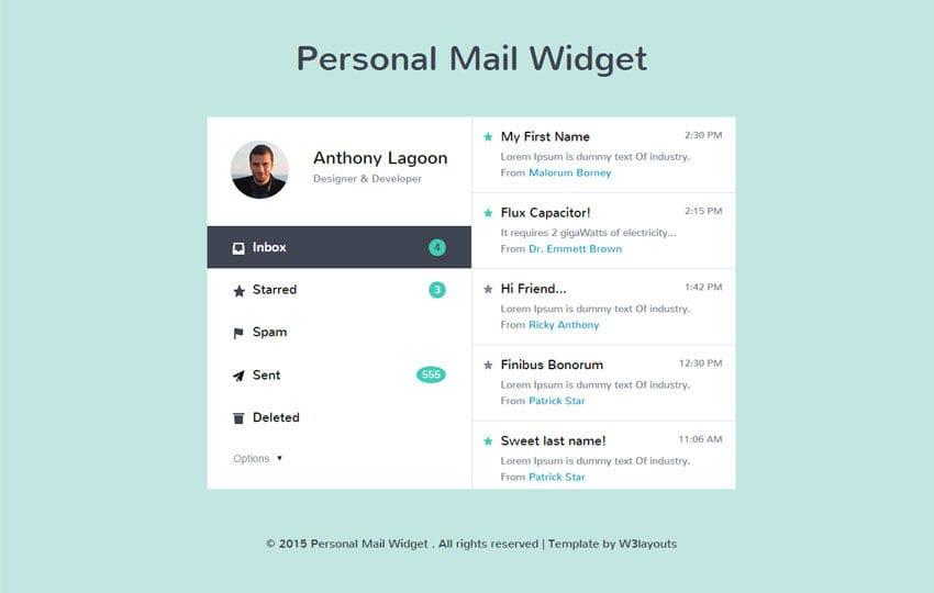 Personal Mail Widget Responsive Widget Template