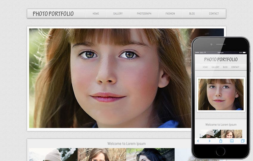 Photo Portfolio web and Mobile template for photographers Mobile website template Free