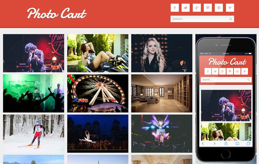 Photo Cart Photo Gallery Mobile Website Template Mobile website template Free