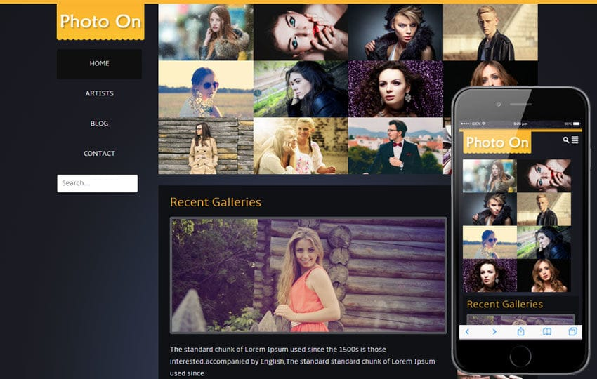 Photo On Gallery Mobile Website Template
