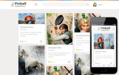 Pinball Responsive Grid Style Blog Flat web template