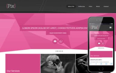 Pix Photography folio Mobile Website Template