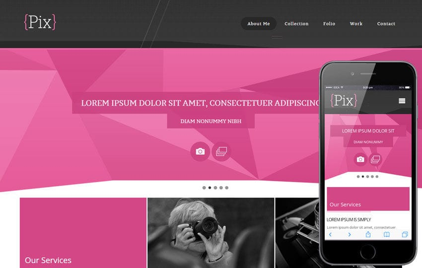 Pix Photography folio Mobile Website Template Mobile website template Free