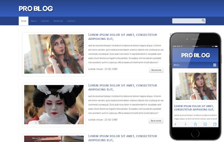 Pro Blog web and mobile website template for free