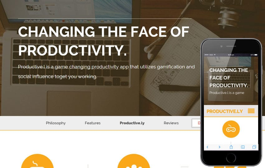 Productively a App based Flat Bootstrap Responsive web template Mobile website template Free
