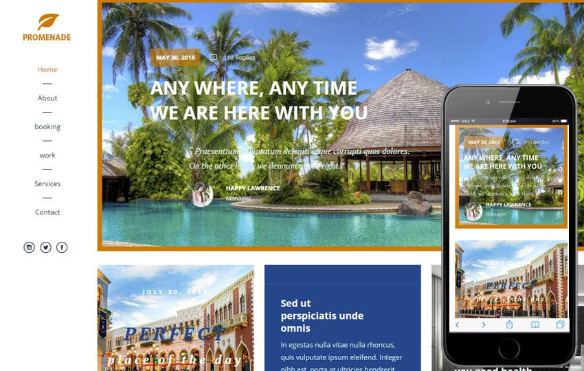 Promenade a Travel Guide Flat Bootstrap Responsive web template Mobile website template Free