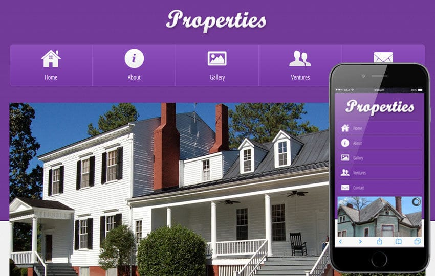 Properties a Real Estate Mobile Website Template Mobile website template Free
