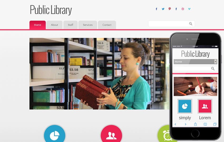 Public Library Education Mobile Website Template Mobile website template Free