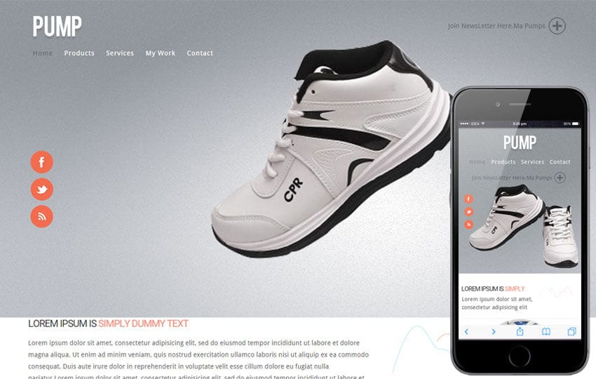 Pump Ecommerce Responsive website template Mobile website template Free