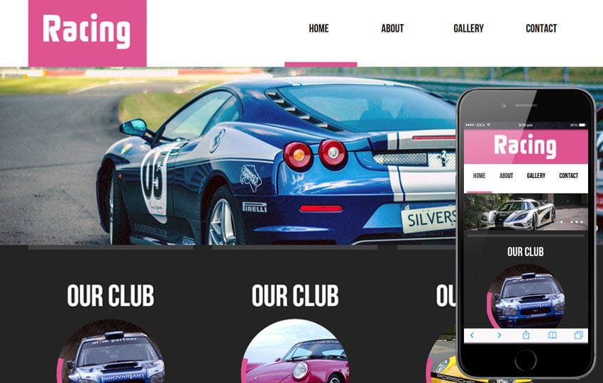 Racing automobile Mobile Website Template Mobile website template Free