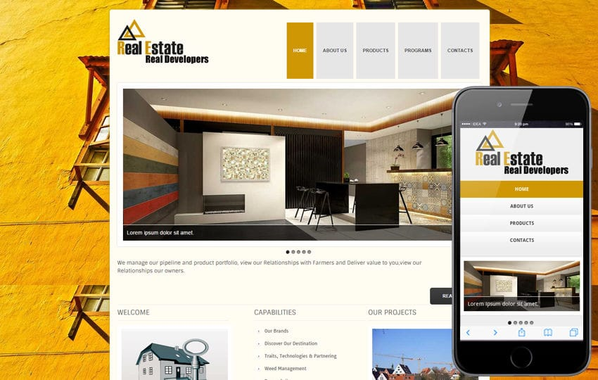 New Real Estate Web template and Mobile website template for free Mobile website template Free