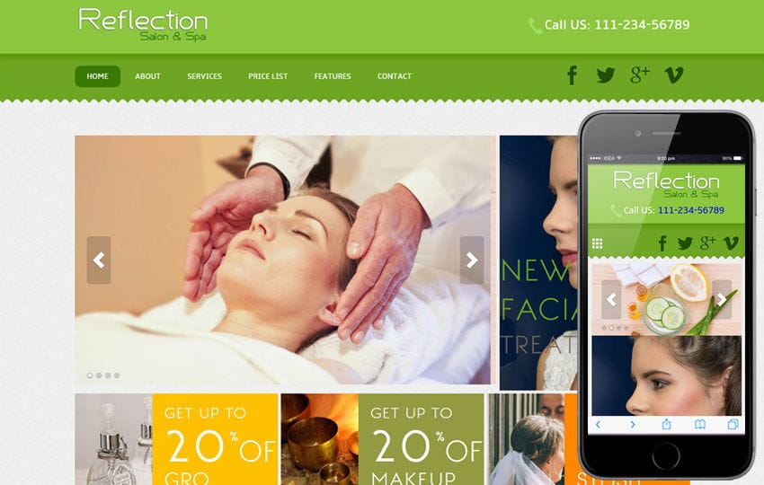 Reflection Beauty Parlour Mobile Website Template Mobile website template Free