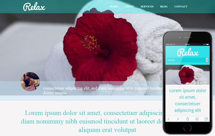 Relax beauty spa Mobile Website Template Mobile website template Free