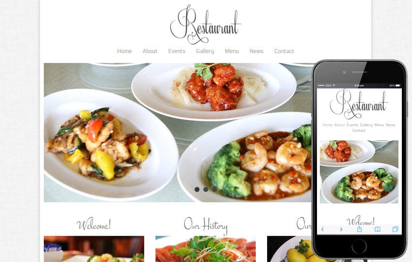 Free Floral Restaurant webtemplate and mobile webtemplate for hotels Mobile website template Free