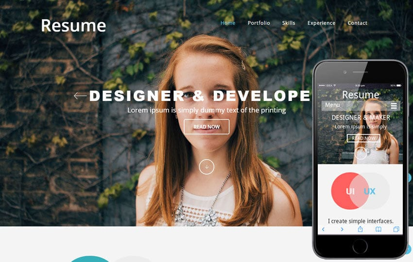 Resumer a SinglePage Flat Responsive web template Mobile website template Free