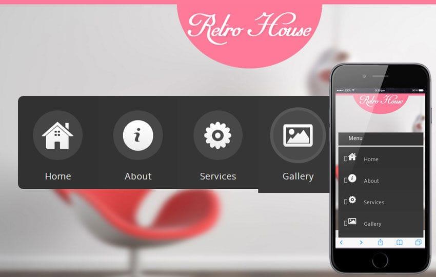 Retro House interior architects Mobile Website Template Mobile website template Free