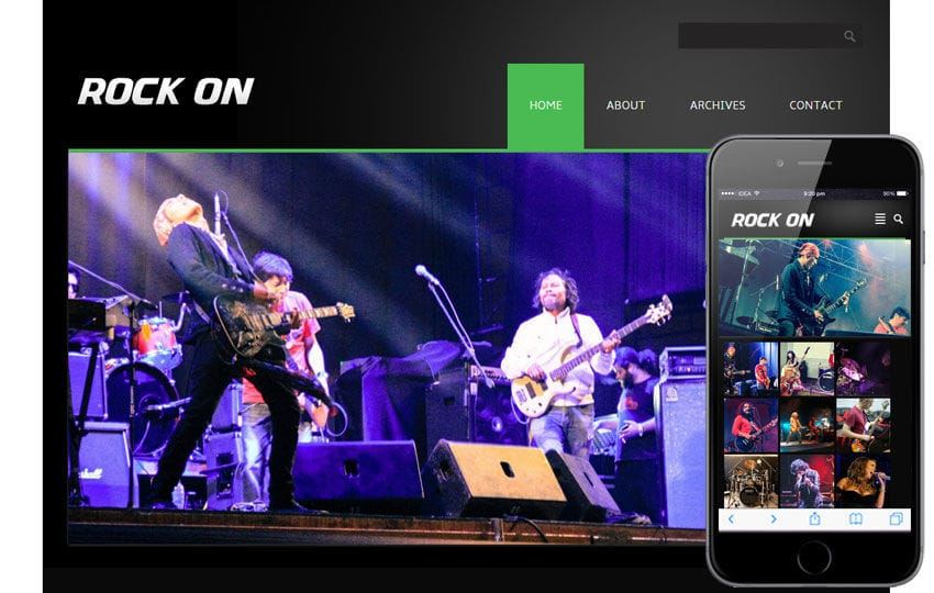 Rock On online shopping music Mobile Website Template Mobile website template Free