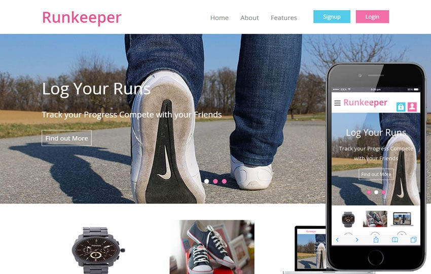 Runkeeper a mobile app Responsive web Template Mobile website template Free