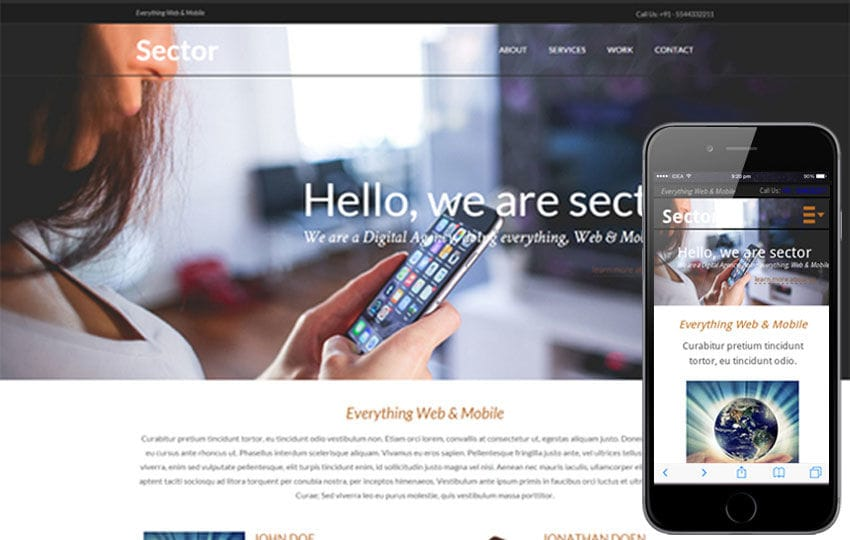 Sector a onepage Multipurpose Flat Bootstrap Responsive web template