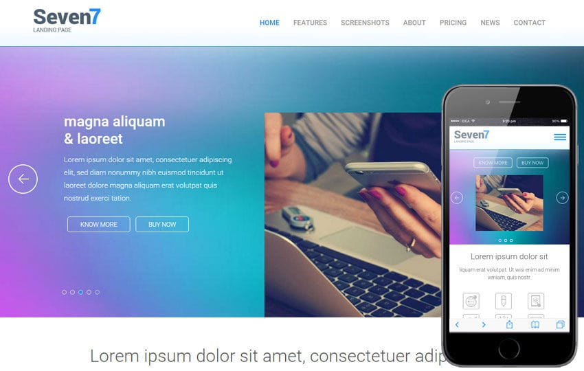 Seven7 Landing Page Flat Bootstrap Responsive Web Template Mobile website template Free