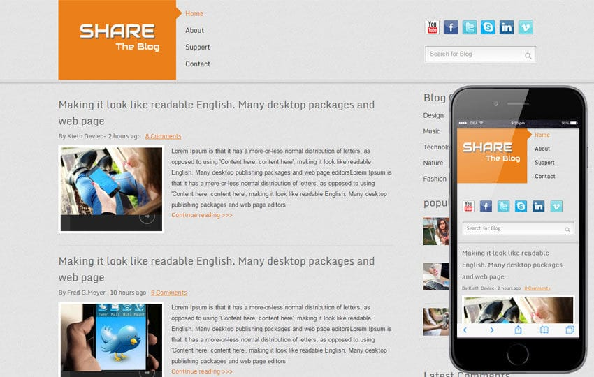 Share Blog Blogging Mobile website Template