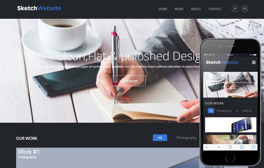 Sketch Website Corporate Flat Responsive web Template Mobile website template Free