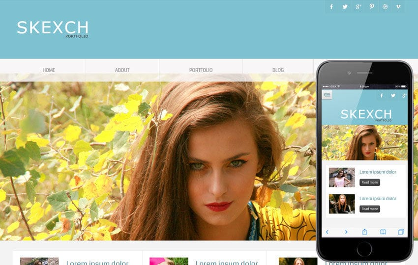Skexch Photo Gallery Portfolio Mobile web Template Mobile website template Free