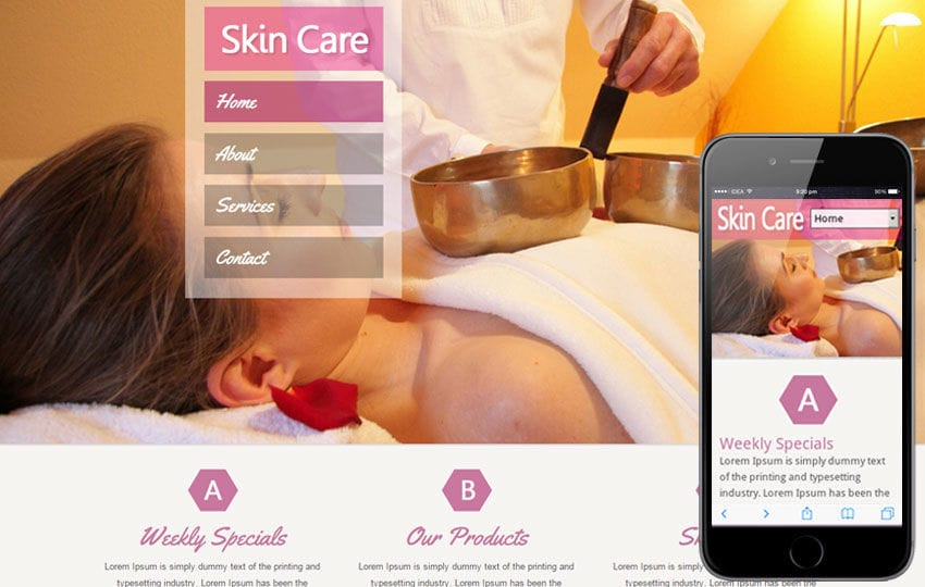 Skin Care Beauty Mobile Website Template Mobile website template Free