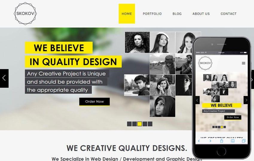 Skokov Corporate Flat Responsive web template Mobile website template Free