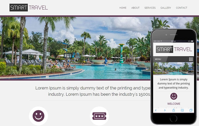 Smart Travel a travel guide Mobile Website Template Mobile website template Free