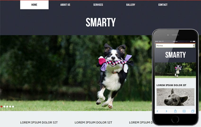 Smarty for animals and pets Mobile Website Template Mobile website template Free