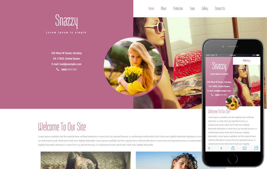Snazzy a Fashion Category Flat Bootstrap Responsive Web Template Mobile website template Free